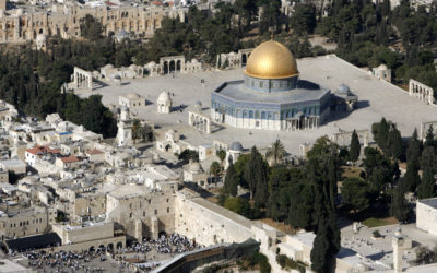 An aerial view shows the Dome of the Rock (R) on the compound known to Muslims as the Noble Sanctuary and to Jews as Temple Mount, and the Western Wall (L) in Jerusalem's Old City October 10, 2006. REUTERS/Eliana Aponte/File Photo